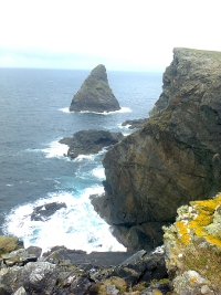 Buachaill sea stack at the Aill na Gall (Foreigners') cliffs of Inishshark