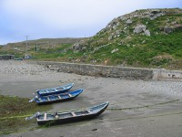 Boats at low tide in Inishturk
