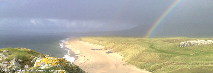 Rainbow over the Silver Strand in South Mayo which is a Discovery Point on the Wild Atlantic Way