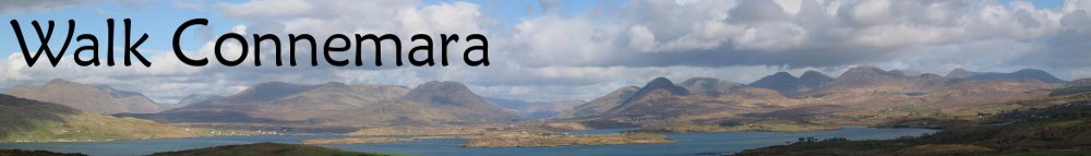 Walk Connemara Logo with 12 Bens mountains in background